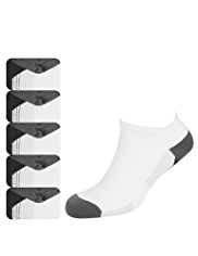 5 Pairs of Cool & Fresh™ Cotton Rich Trainer Liner Striped Socks