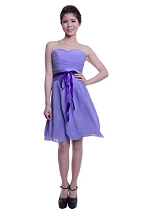 Moonar Chiffon Strapless Sweetheart Short Mini Formal Gown Party Bridesmaid Dress Purple Size 4