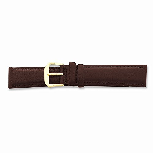 15Mm Brown Smooth Leather Gold-Tone Buckle Watch Band