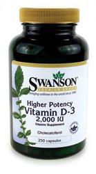Higher Potency Vitamin D-3 2,000 IU 250 Caps by Swanson Premium