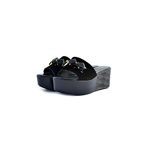 Scarpe sandali donna Jeannot numero 38 33080 in camoscio suede neri zeppa tacco