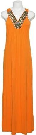 ROMEO & JULIET COUTURE Tribal Neck Racerback Maxi Dress [RJ29246], ORANGE, S