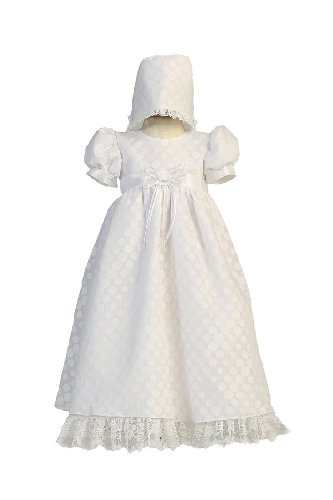 Today Long White Poly Cotton Polka-dot Burnout Baby Girl Christening Baptism Special Occasion Newborn Dress Gown with Matching Hat - M (6-12 Month, 13-17 lbs)