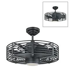 Kendal Lighting AC17723-NI Enclave 23-Inch Ceiling Fan features a deep Natural Iron finish motor with matching Natural Iron blades in a retro industrial design sure to be appreciated for years to come in a bedroom with the unassuming style, or hung o...