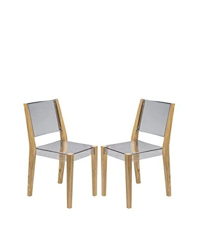 LeisureMod Set of 2 Modern Barker With Wooden Frame Transparent Chair, Clear