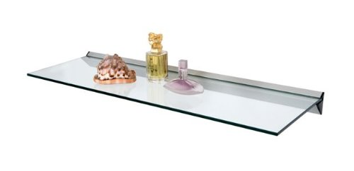 Floating Clear Glass Shelf 600mm