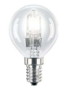 6 x Eco Halogen Energy Saving Mini Golf Balls Globes 28W = 40w SES E14 Small Edison Screw Classic Clear Round, Dimmable Light Bulbs Lamps, G45, Mains 240V from Long Life Lamp Company