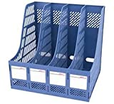 4連 ファイル バスケット オフィス 収納 データ office ボックス (ブルー)