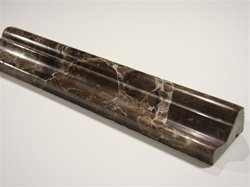 Dark Emperador Marble Chair Rail Decorative Crown Molding Bull Nose Trim Double Ogee 2 in. x 12 in.