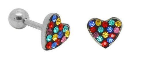 Crystal Rhinestone Heart Cartilage Tragus Stud 1.2 x 6mm