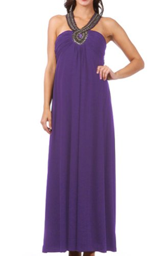 Trendy Tummy Maternity Posh Dylan Formal Evening Maternity Dress (2XL, Purple)