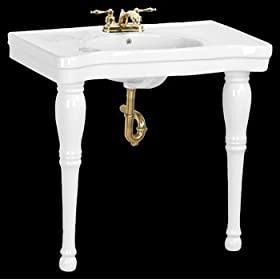 Console Sinks White Vitreous China, Belle Epoque Sink Two Spindle Legs Centerset