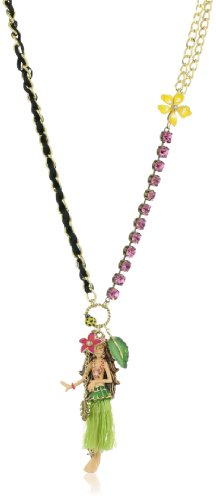 "Betsey Johnson ""Hawaii Luau"" Hula Girl Pendant Long Necklace"