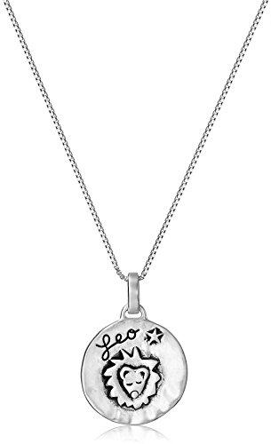 "Sterling Silver Zodiac Sign, Leo Reversible Pendant Necklace, 18"""