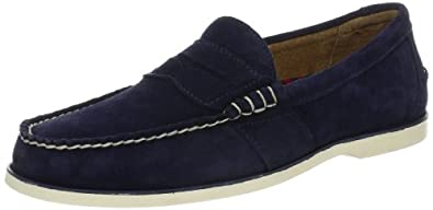 Polo Ralph Lauren Men's Blackley Penny Canoe Loafer, Navy Suede, 11 D US