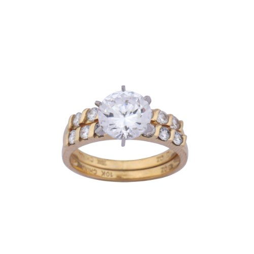 10K Yellow Gold Cubic Zirconia Wedding Set, Size 10
