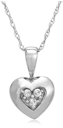 10k White Gold Diamond Heart Pendant (.03 cttw, I-J Color, I2-I3 Clarity)