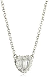 CZ by Kenneth Jay Lane Classic Heart Cubic Zirconia Pendant Necklace