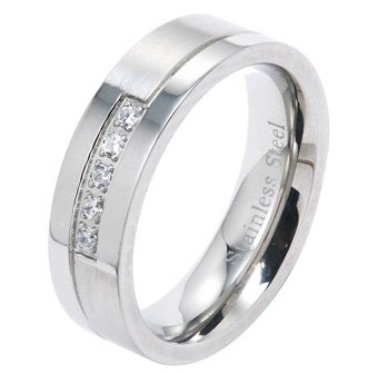 6MM Polished Stainless Steel Wedding Band Ring With Five Small Cubic Zirconias in Center