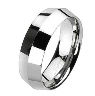 8MM Tungsten Ring with Center Point Faceted Band