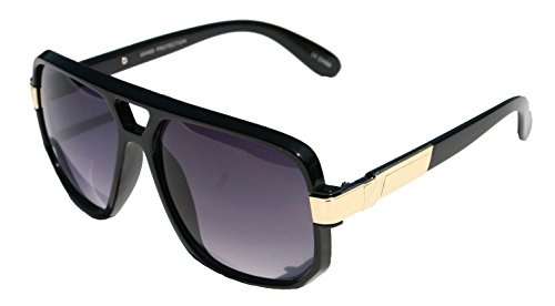 Classic Square Frame Plastic Flat Top Aviator with Metal Trimming Sunglasses (Gloss Black Gold, Black)