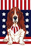 Basset Hound - by Tomoyo Pitcher, Patriotic Themed Dog Breed Flags 12 x 18