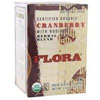 Flora - Certified Organic Herbal Tea Blend Cranberry With Rooibos Caffeine-Free - 16 Tea Bags