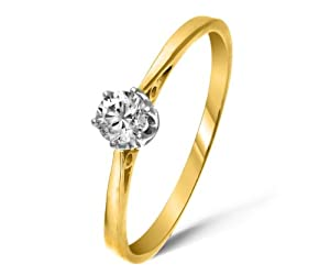 Classical 9 ct Gold Ladies Solitaire Engagement Diamond Ring Brilliant Cut 0.20 Carat JK-I3 Size N