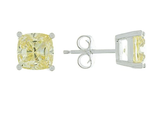 Platinum Plated Sterling Silver Cushion Cut Canary Yellow CZ Stud Earrings