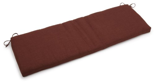 Blazing Needles Indoor/Outdoor Spun Poly 19-Inch by 60-Inch by 3-1/2-Inch 3-Seater Bench Cushion, Cocoa