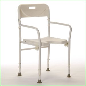 folding shower chair with arms and back height adjustable