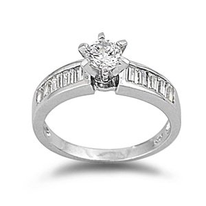Sterling Silver Polished Engagement Promise Ring with Clear Cubic Zirconia Stones-size5