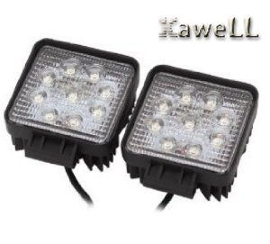 Kawell™ Pack of 2 27w Dc 12v 24v 6500k LED Flood Work Lamp Off Road Floodlight 4x4 -Jeep Cabin/boat/suv/truck/car/atvs Fishing Deck Driving Light 10v-30v Waterproof
