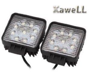 Kawell™ Pack of 2 27w Dc 12v 24v 6500k LED Flood Work Lamp Off Road Floodlight 4x4 -Jeep Cabin/boat/suv/truck/car/atvs Fishing Deck Driving Light 10v-30v Waterproof
