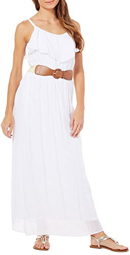 Agb Womens Belted Popover Maxi Dress Medium White