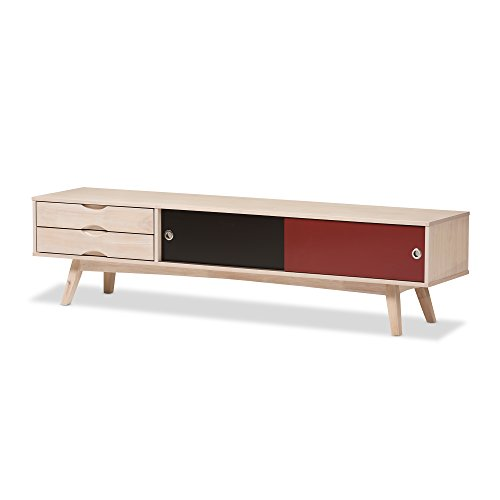 Baxton Studio Sydney Scandinavian Inspired Multi-Colored Solid Rubberwood TV Stand (Mid Century Tv Stand compare prices)