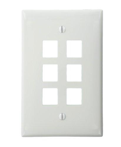 Leviton 41091-6Wn Quickport Midsize Wallplate, Single Gang, 6-Port, White