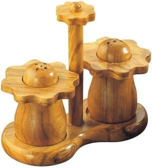 Set salt & pepper Flower, wood by Signes Grimalt