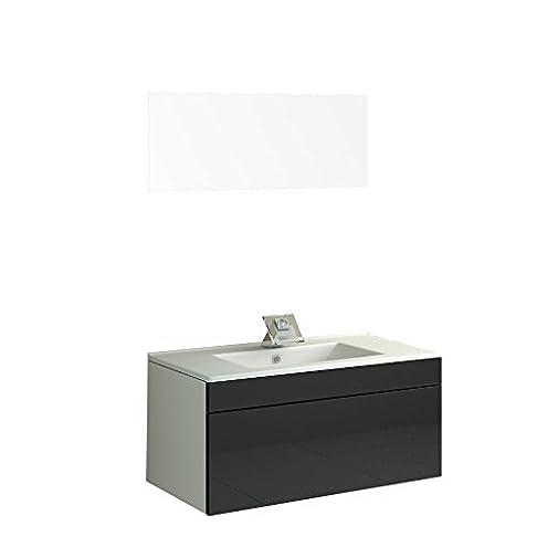 Lavabo bagno mobili Badm oebel Como II in Nero per 1. Person