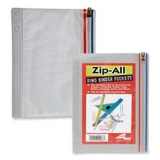 "Anglers Company Ltd. Products - Zip All Ring Binder Pocket, 9-1/2""x6"", Clear - Sold as 1 EA - Binder pocket offers a heavy .008mm clear matte vinyl body and an all-plastic zipper with gold-metal slider, and blue and red lining. Hole-punched for use in various size binders. Heat sealed edges ensure contents remain secure."