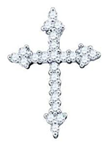 Pricegems 10K White Gold Ladies Round Brilliant Diamond Cross Pendant (0.26 cttw, I-J Color, I1/I2 Clarity)