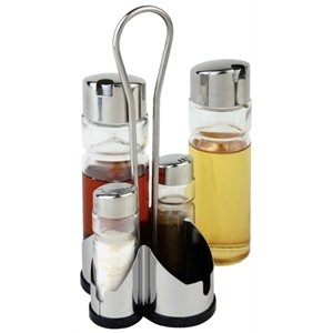 Complete Cruet Set and Stand Salt, Pepper, Vinegar & Oil