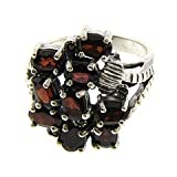 Sterling Silver Garnet and Marcasite Cluster Ring Size#8