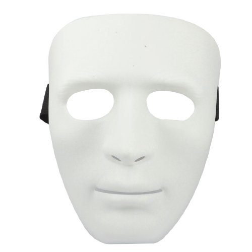 Adjustable Elastic Band Full Face Halloween Party Mask White Black