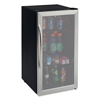 Avanti 3.1 Cubic Foot Beverage Cooler / Sylish Black Cabinet With Stainess Steel Framed Double-Pane Tempered Glass Door