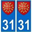 Autocollant plaque immatriculation auto d�partement 31 occitan croix occitane