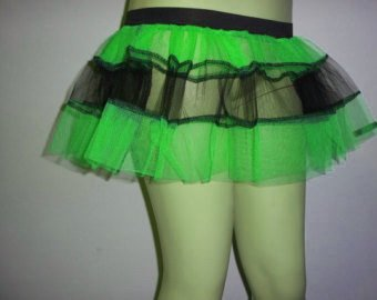 Uv Green Black V Stripe Tutu Skirt Party Mini Emo Dance Rave Hen Halloween Clubwear