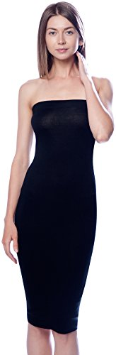 DNA Couture Womens Basic Strapless Bodycon Mini Tube Dress Large Black