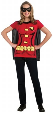 Rubies 212049 Robin - Female - T-Shirt Adult Costume Kit - Red - X-Large