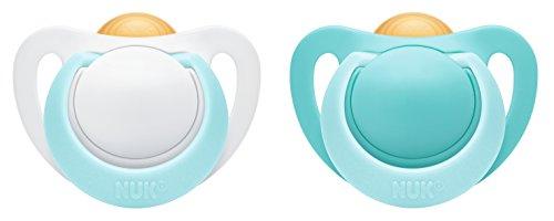 NUK 10171088 Genius Latex-Schnuller, kiefergerechte, Form, zahnfreundlich, BPA frei, Boy, 0-6 Monate, 2 Stück